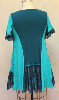 Upcycled womens tunic Bohemian clothing XL one of a by MilaLem