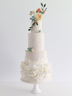 Floral Wedding Cakes Natural Cracks and Waves Wedding Cake - Wedding Cakes Brisbane, Sunshine Coast and Gold Coast - Collection of iced wedding cakes, and wedding cake designs including hand-crafted sugar flowers. Wedding Cake Prices, Floral Wedding Cakes, Wedding Cake Rustic, White Wedding Cakes, Elegant Wedding Cakes, Wedding Cake Designs, Wedding Cake Toppers, Gold Wedding, Cake Wedding