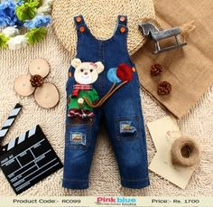 5be87f8b11b3 2016 New Collection of Kids Jumpsuits - Kids Denim Jeans One-pieces Cartoon  Bear Rompers