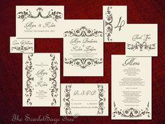 PRINTABLE VINTAGE FLOURISH - Customize Colors, Text - Diy Wedding Invitation Suite, 8 Pcs (buy pcs a la carte as you need). $99.75, via Etsy.