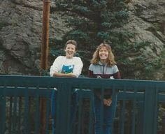 Donna W & i on a bridge somewhere in CO.  i think we had stopped for ice cream somewhere and i was STUFFED full.  these ex-college friends are a blast!  (yr?)