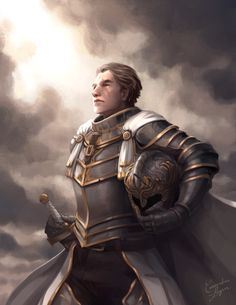 Painting of a Paladin for a commission 10 years in the making, completed on twitch stream. Fantasy Heroes, Fantasy Male, Fantasy Armor, Medieval Fantasy, Character Creation, Character Art, Character Design, Dnd Characters, Fantasy Characters