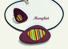 pendentif_bague_vertfuchsia Polymer Beads, Polymer Clay Necklace, Polymer Clay Pendant, Polymer Clay Projects, Metal Clay, Gum Paste, Hippie Style, Leather Craft, Crafts