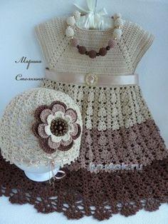 Шапочка и сарафан для девочки — работы Марины Стоякиной. Вязание крючком.