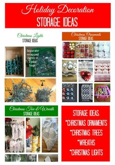Holiday Decoration Storage Ideas. Tips on how to store ornaments, Christmas lights, trees, and wreaths.
