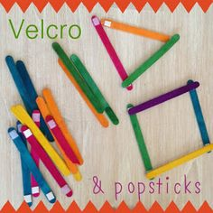 Practice Shapes with Velcro and Popsicle Sticks