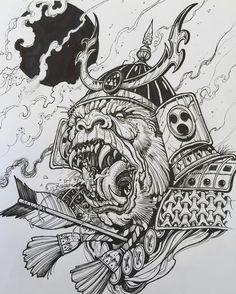 Another Marker sketch available to tattoo #samurai #ape #tattooidea #383tattoogc