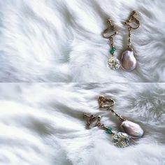 Française Handmade pearl earrings  Style de élégant