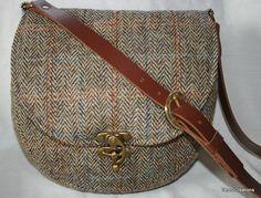 Harris Tweed Saddle Bag in a Beige Herringbone by Ten10Creations