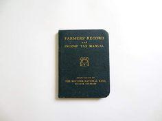 Farmer's Record Bank Book Vintage Antique Boulder Colorado Income Tax Manual Account Book Western Americana Rural History Farm Book Coyotes