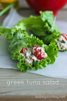 A simple and flavorful recipe for Greek Tuna Salad in lettuce wraps. Tomatoes, capers, banana peppers, and oregano add lots of flavor.