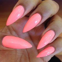 Long pink manicured nails nails pink nail pretty nails manicure nail ideas nail designs
