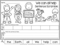 FREE Earth Day sentence scramble. We can all help the Earth!