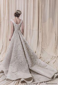 krikor jabotian spring 2018 bridal cap sleeves scoop neckline full embellishment elegant glamorous sheath wedding dress a line overskirt chapel train (10) bv