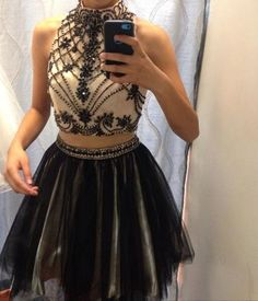 Two Pieces Beading Short Prom Dress,Homecoming Dress,Graduation Dress,Party…