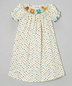 This Ivory Dot Zoo Animal Bishop Dress - Infant, Toddler & Girls by BeMine is perfect! #zulilyfinds