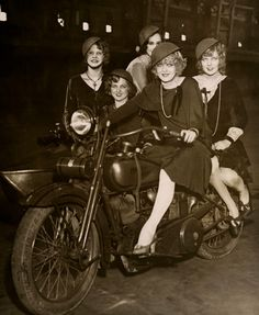 George White's Scandals Girls on a Harley, NYC, 1930. Maudelynn's Menagerie