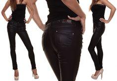 Hüfthose Röhre Lederimitat Lederoptik Hose Stretch Jeans m.Zipper,36,38,40,42,44