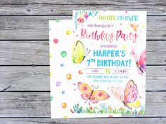 Butterfly Invitation Butterfly Birthday Invitations