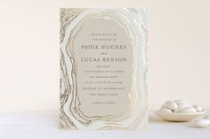 Gilt Agate Foil-Pressed Wedding Invitations by Kaydi Bishop at minted.com