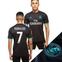 Haute Qualité Nouveaux Maillot Real Madrid (Ronaldo 7) Exterieur Noir Avec Flocage Vintage 2017/2018 Personnalisable