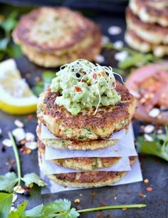 Healthy Gluten Free Cauliflower fritters. An easy and tasty 4 ingredients crispy fritter recipe perfect as a clean eating meal on its own or burger filling.