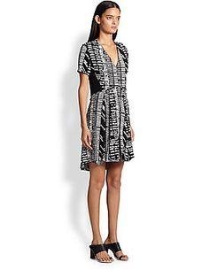 Proenza Schouler Woodblock-Print Crepe Dress