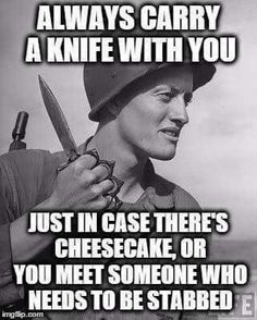 Always carry a knife with you just in case there's cheesecake >LOL! Funny Shit, Haha Funny, Funny Cute, Funny Memes, Hilarious, Funny Stuff, Witty Memes, Memes Humour, Witty Sayings