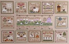 Little House Virtues, stitched on one piece of linen around another central pattern. I would substitute My Sheep Hear My Voice for the center, also pinned on this board.