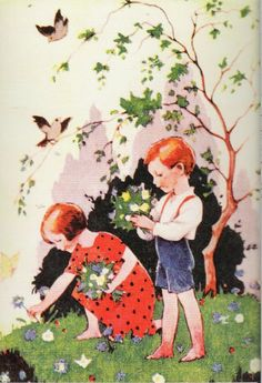 Rudolf Koivu – Finnish) Making Bouquets Of Flowers Vintage Children's Books, Vintage Postcards, Vintage Art, Vintage Prints, Illustration Story, Garden Illustration, Making A Bouquet, Art For Art Sake, Christmas Art