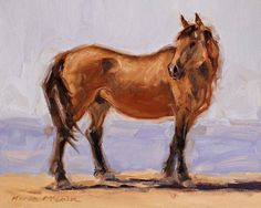 """""""Bugs, the Watchful Stallion"""" Oil on cradled wood, 8x10, $125.00 """"Bugs"""" is a wonderful stallion that I love to paint! I got to see him the past two summers at the Sand Wash Basin range. Bugs band has one of it's members that I got to name-Titanium. (the color of the paint, of course) Plus last summer it was one of his mares that was the subject for a quick field study. This summer I enjoyed watching as Bugs brought his band into water, and stood watching over them as they got their fill."""