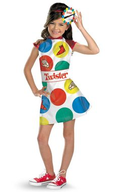 Twister Kids Costume This costume includes dress with Twister spinner headband. This is an officially licensed Hasbro product. Weight (lbs) 0.5 Length (inches) 15 Width (inches) 11.5 Height(inches) 1
