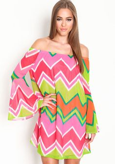 Go for a bold punch of color in this cute dress! Off shoulder mesh dress in a colorful chevron print, with gathered bell sleeves.  http://foxyblu.com/details/116107