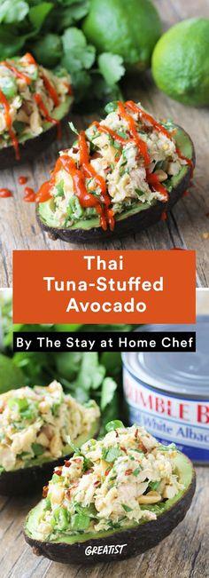 1. Thai Tuna-Stuffed Avocado #healthy #recipe #stuffedavocado #avocado http://greatist.com/eat/stuffed-avocado-recipes
