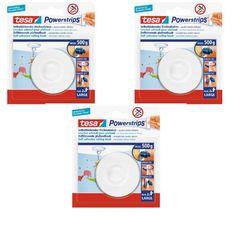 Tesa Powerstrips 3 x Deckenhaken weiß incl. je 2 Strips Large / zum Befestigen von Deco etc. an der Zimmerdecke tesa