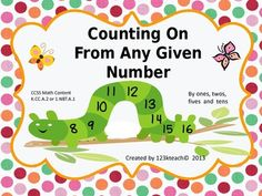Print and Go. Students will learn to count on from any given number. The worksheets start out simple and get progressively more challenging as you introduce larger numbers and students learn to count by 1's, 2's, 5's, and 10's.This activity aligns with Common Core Math Content K.CC.A.2 or 1.NBT.A.1. This is a set of 14 worksheets in all.