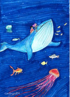 Ballena azul / azul ballena postal 5x7in por MagrojaPrints en Etsy