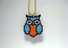Seed Bead Owl Necklace  by AmaltheaCph