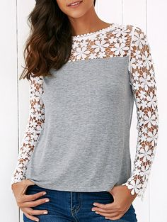 Lace Splicing Floral Pattern Blouse