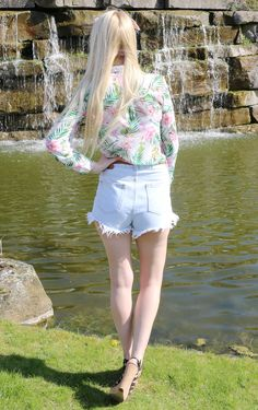 Spring Summer Fashion | Tropical Print Blouse, Denim High Waisted Shorts #style #outfit