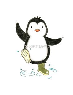 Splashing penguin in welly boots! x