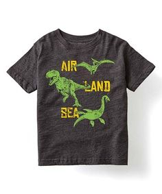 Look what I found on #zulily! Charcoal 'Land Air Sea' Dinos Tee - Kids #zulilyfinds