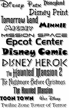 Disney Print Fonts--check out if they're free Disney Crafts, Disney Trips, Disney Love, Walt Disney, Disney Style, Disney Scrapbook, Scrapbook Pages, Scrapbook Photos, Fuentes Disney