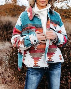 Aztec Shirt Jacket Shacket Blue & Tan Pink & Gray Or Red & Turquoise Y – Made4Walkin Red Turquoise, Teal And Pink, Pink Grey, Gray, Aztec Shirt, Tan Handbags, Jackets For Women, Clothes For Women, Tie Dye Sweatshirt