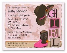 western cowgirl baby shower invitation