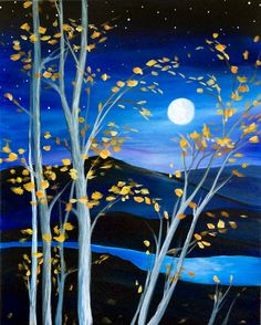 Graffiti Paintbar - Uncork Your Inner Artist! Moonlit Mountain Serenity -