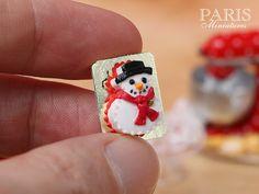 Snowman Christmas Cake 12th Scale Miniature por ParisMiniatures