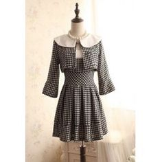 Vintage Twinset Houndstooth Flare Sleeves Coat and Dress For Women