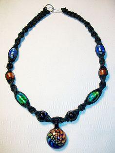 Rainbow Boro Glass Pendant on Black Hemp Necklace with by psysub