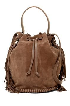 Need this ALLSAINTS Club Fringe Suede Bucket Bag